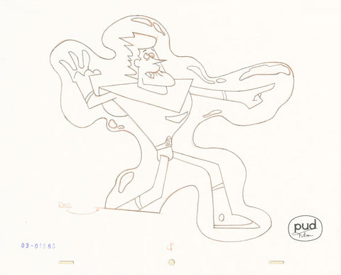 "Spaceman Jax - ""My Fair Mantagon"" -  Jim Dewicky - animation production drawing - Jax is frozen by ray - by Curio & Co. (Curio and Co. OG) www.curioandco.com"