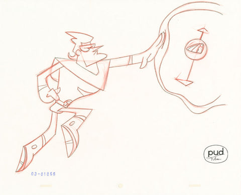 "Spaceman Jax - ""Dekkin's Dream"" -  Jim Dewicky - animation production drawing - Jax reaches for a mine - by Curio & Co. (Curio and Co. OG) www.curioandco.com"