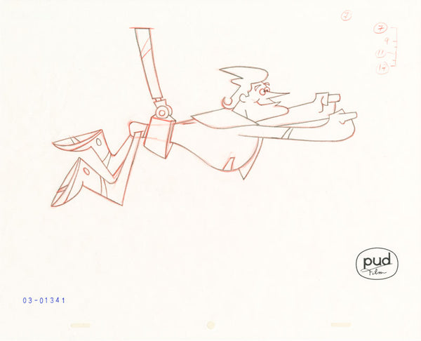 Jim Dewicky - animation production drawing - Jax is held up in superman pose by robot hand