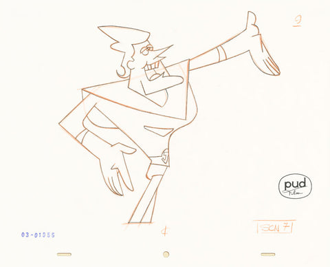 "Spaceman Jax - ""The Super Mantagons"" -  Jim Dewicky - animation production drawing - Jax points at thigns - by Curio & Co. (Curio and Co. OG) www.curioandco.com"