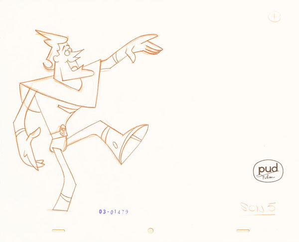 Jim Dewicky - animation production drawing - Jax walks quietly