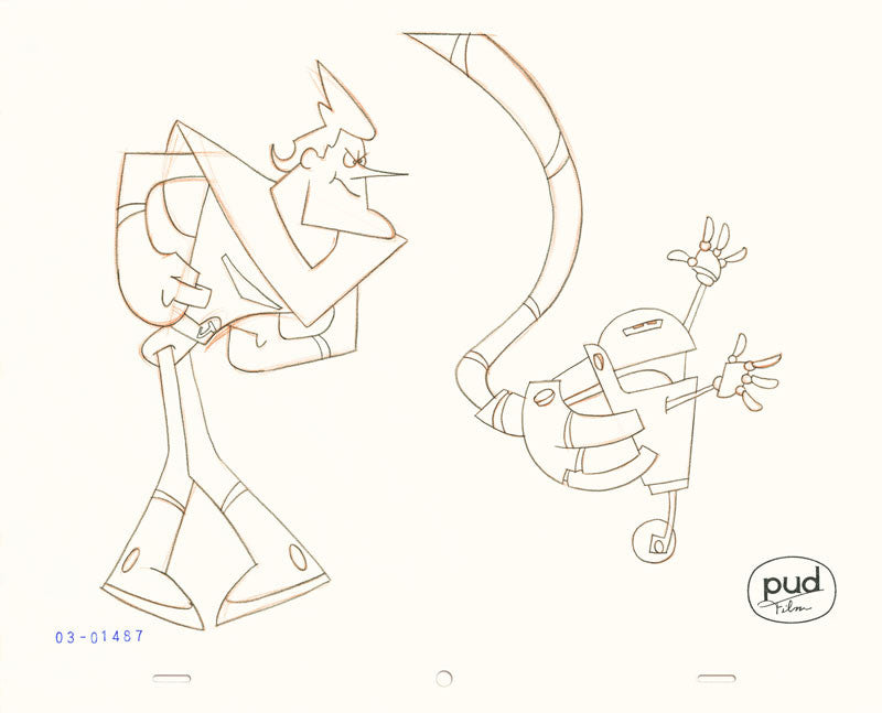 Jim Dewicky - animation production drawing - Robot arm grabs small robot and Jax watches