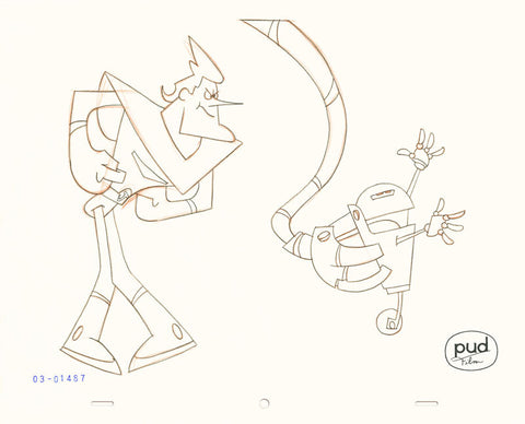"Spaceman Jax - ""A Robot's Best Friend"" 2 -  Jim Dewicky - animation production drawing - Robot arm grabs small robot and Jax watches - by Curio & Co. (Curio and Co. OG) www.curioandco.com"