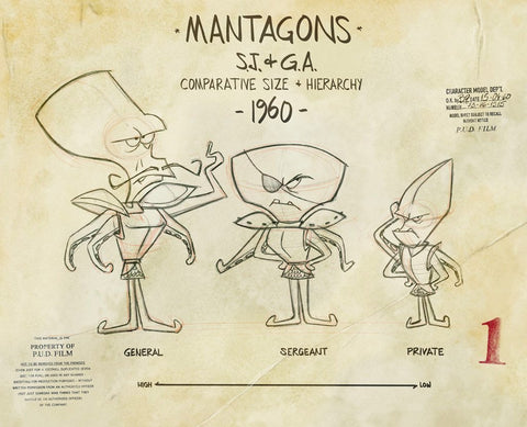 Spaceman Jax - Mantagons - Comparative Size - Line-up of various Mantagons types, title of model sheet and Pud film studio copyrights stamps - by Curio & Co. (Curio and Co. OG) www.curioandco.com