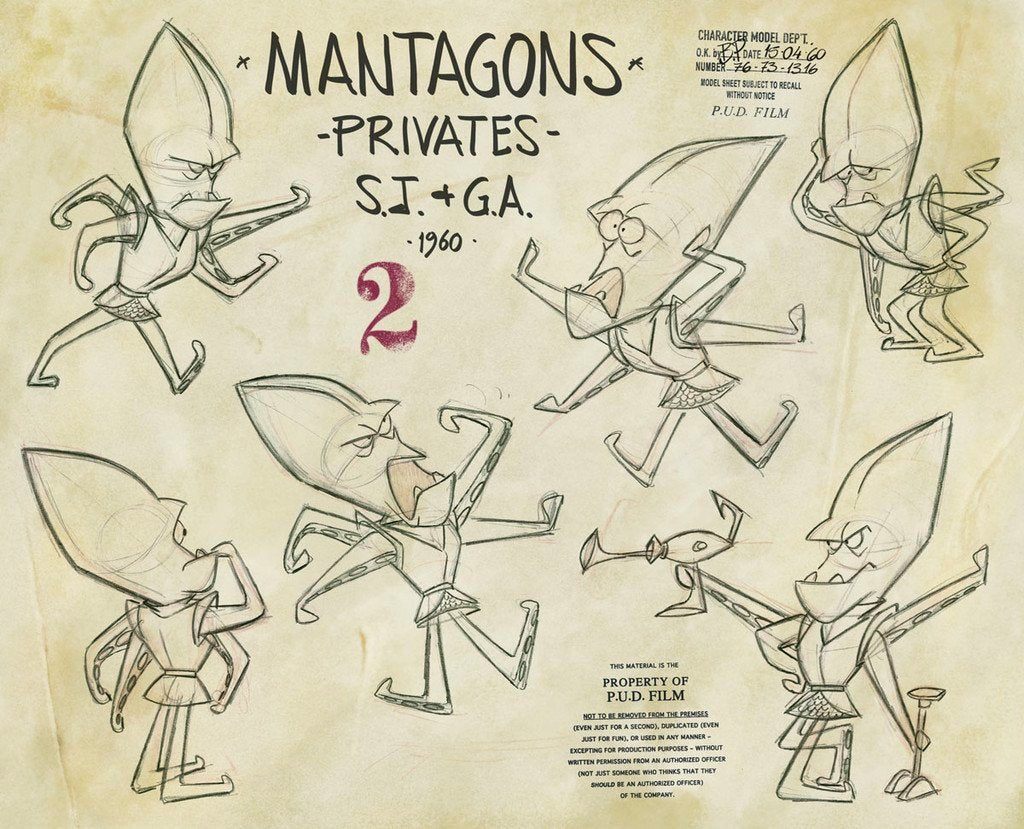 Various poses of mantagons, title of model sheet and Pud film studio copyrights stamps