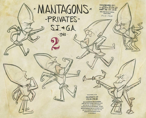 Spaceman Jax - Mantagons - Privates - Various poses of mantagons, title of model sheet and Pud film studio copyrights stamps - by Curio & Co. (Curio and Co. OG) www.curioandco.com