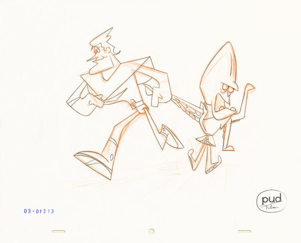Jim Dewicky - animation production drawing - Jax and mantagon go for a walk