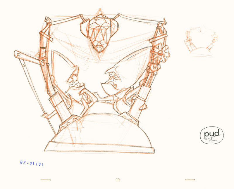 Jim Dewicky - animation production drawing - Two mantagons mining cristals