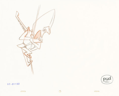 "Spaceman Jax - ""A Gem of an Idea"" 2 -  Jim Dewicky - animation production drawing - Mantagon on a rope - by Curio & Co. (Curio and Co. OG) www.curioandco.com"