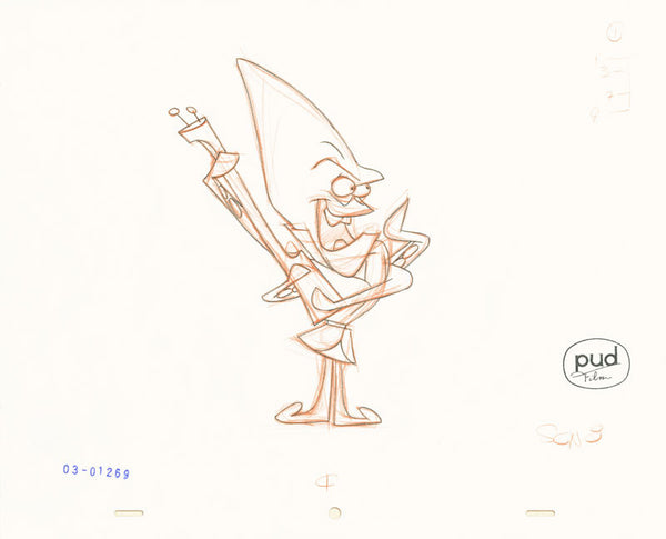 Jim Dewicky - animation production drawing - Mantagon plays guitar