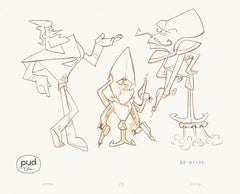 "Spaceman Jax - ""Jax Laughs Last"" -  Jim Dewicky - animation production drawing - Jax, mantagon and mantagon general have a conversation  - by Curio & Co. (Curio and Co. OG) www.curioandco.com"