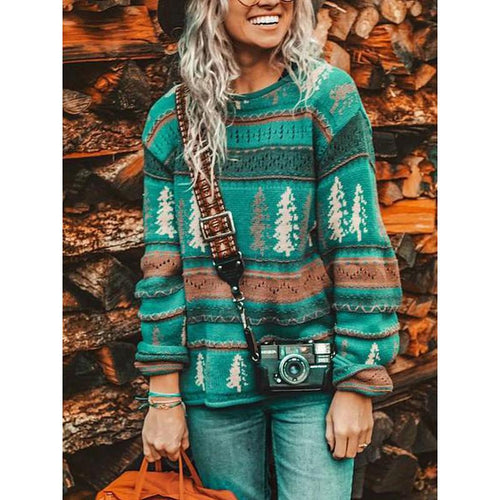 Casual Crew Neck Jumper Printed Sweaters