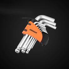 Load image into Gallery viewer, 9pcs Double End Matte Chrome Ball Hex key Spanner Set Repair Tool Kit