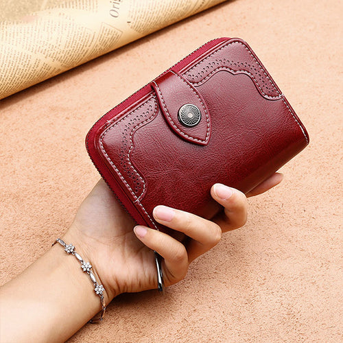 Women Fashion Solid Color Genuine Leather Zipper Wallet