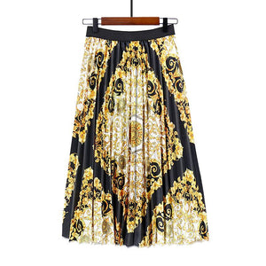 Date Elegant Printed Pleated Skirt