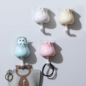 Household Cartoon Cat Decorative Hooks Key Holder Wall Mounted Adhesive Coat Hanger Hat Rack