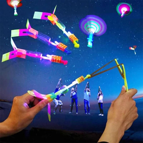 Amazing Rocket Slingshot LED Helicopters-5pcs