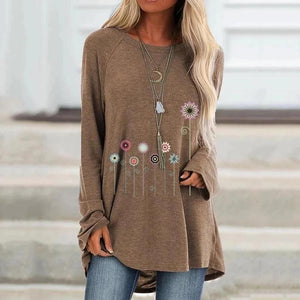 Hot Floral Print Long Sleeve Round Neck T-shirt