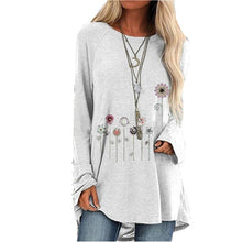 Load image into Gallery viewer, Hot Floral Print Long Sleeve Round Neck T-shirt
