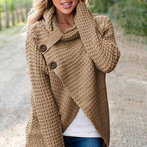 Women's Loose Cardigan Warm High Collar Irregular Knit Button Sweaters