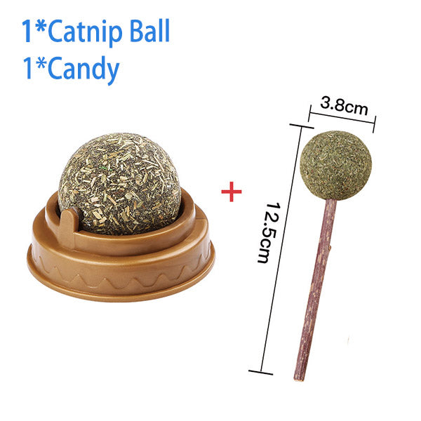 Clean Teeth Safety Mint Cat Toy Rotating Catnip Ball Toy