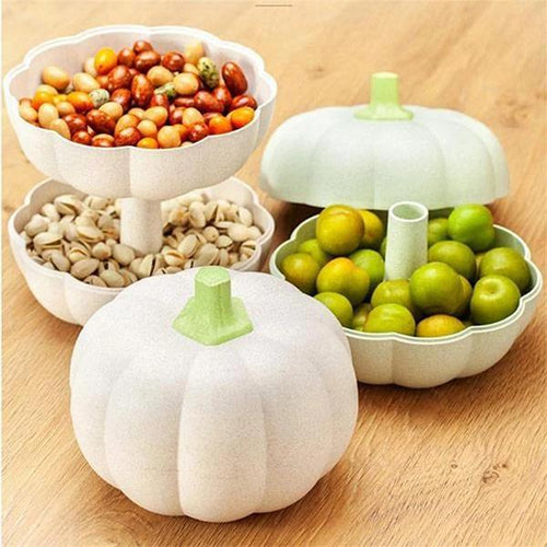 Creative Double Layer Pumpkin House Decoration Snack Candy Fruit Holders Food Storage Basket