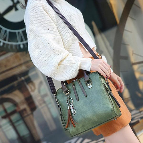 Vintage Tassel Crossbody Shoulder Bag Boston Handbags