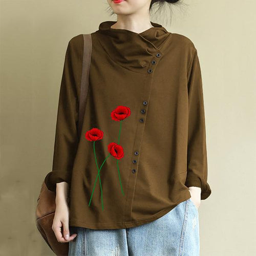 Casual Flower Print Button Turtleneck Overhead Sweatshirt