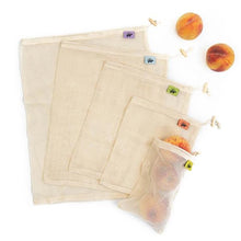 Load image into Gallery viewer, Cotton Net Produce Bags with Wood Toggles-10pcs
