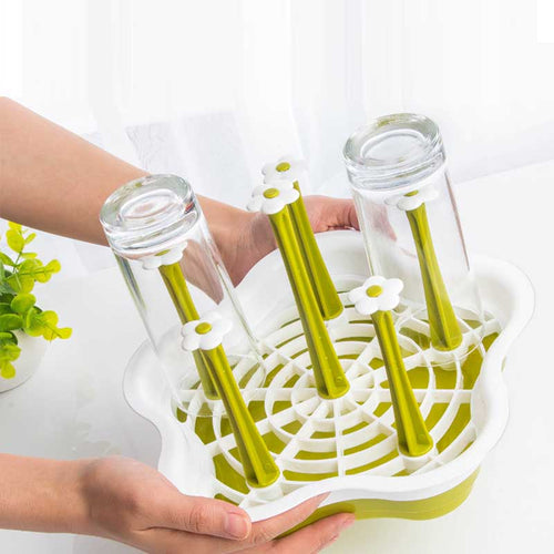 Plastic Dish Bottle Drying Rack Stand Utensils Drainer Tray Holder