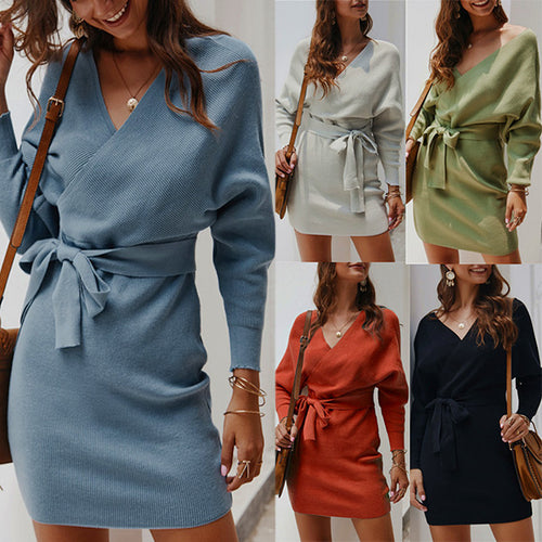 Women Sexy Solid Color Long Sleeve Knitted Dress