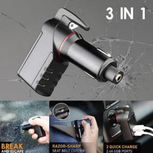 Load image into Gallery viewer, USB Car Charger Window Breaker Punch Seat Belt Cutter Emergency Escape Tool