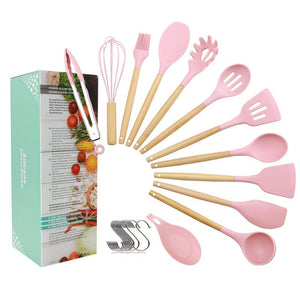 New 12PCS Silicone Cooking Utensils Set Non-stick Spatula Shovel Wooden Handle