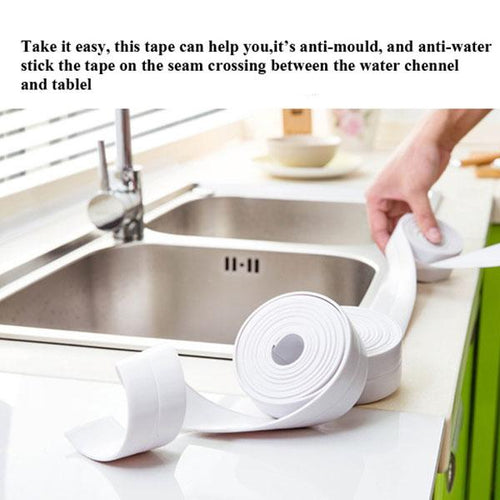 Kitchen Bathroom White Self Adhesive Wall Seal Ring Tape Waterproof Tape Mold Proof Edge Trim Tape Accessory