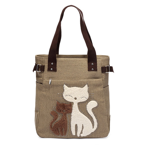 Casual Cat Patter Canvas Handbags Sing Shoulder Bag