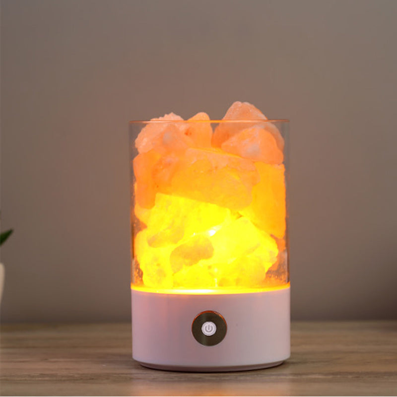 USB Crystal Light Natural Salt Lamp Air Purifier Mood Creator Indoor Warm Lamp
