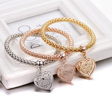 Load image into Gallery viewer, Ethnic Love Heart Charm Bracelets Vintage Jewelry - 1 Set of 3 Bracelets
