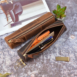 Vintage Creative Stitching Pen Bag Storage Pouch Zipper Pencil Case