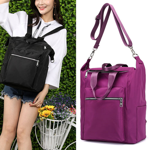 Women Large Capacity Solid Shoulder Bag Backpack