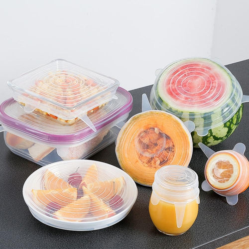 6Pcs Silicone Lid Stretch Lids Food Fresh Cover Bowl Pan Fruit Mug