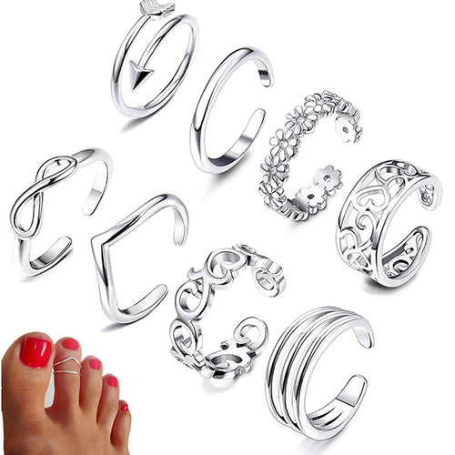 Women Adjustable Toe Rings Various Types Band Rings