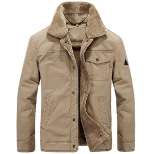 Men Fashion Warm Long Sleeve Lapel Plush Pilot Jacket