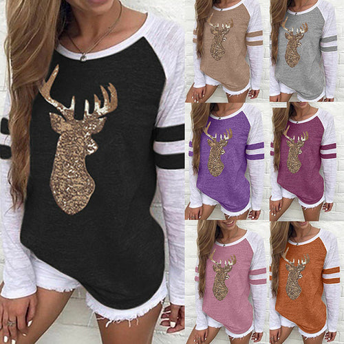 Women Color Block Long Sleeve Deer Pattern Printed Tops