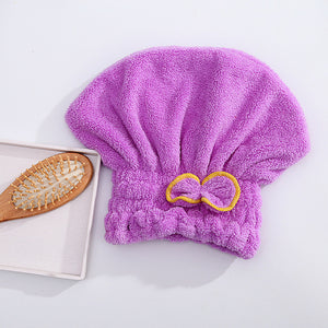Women Bathroom Quick-Dry Hair Hat Super Absorbent Head Wrap Shower Cap
