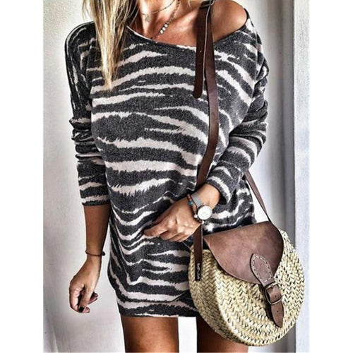 Round Neck Striped Print Long Sleeves Blouse Knitted Dress