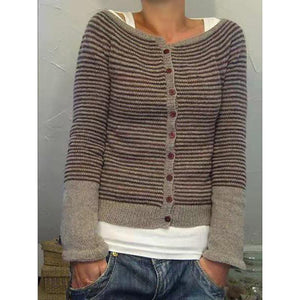 Autumn Striped Knit Button Cardigan Sweaters