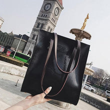 Load image into Gallery viewer, Women Large Capacity Tote Handbag Solid Vintage Faux Leather Shoulder Bag