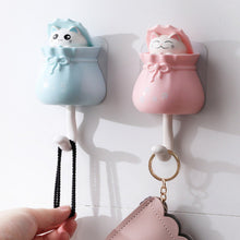Load image into Gallery viewer, Household Cartoon Cat Decorative Hooks Key Holder Wall Mounted Adhesive Coat Hanger Hat Rack