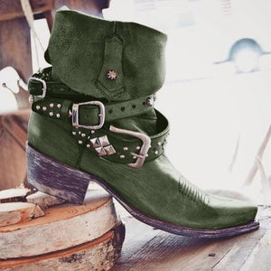 Vintage Artificial Leather Low Heel Outdoor Boots