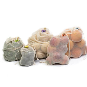 Cotton Net Produce Bags with Wood Toggles-10pcs